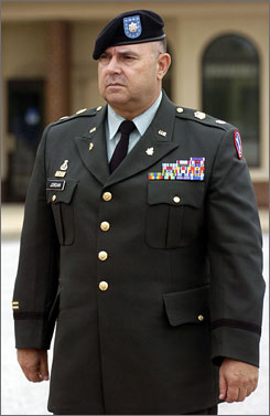 Lt. Col. Steven Jordan arriving for his court martial at Fort Meade, Md., in August 2007.