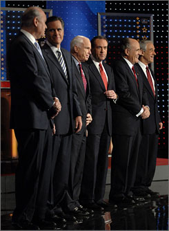 From left to right: Republican presidential candidates Fred Thompson, Mitt Romney, Sen. John McCain, Mike Huckabee, Rudy Giuliani and Rep. Ron Paul gather on stage. Tonight, candidates competed in a state where the primary is known as a good-luck charm for the winner.