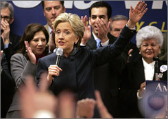 Sen. Hillary Rodham Clinton, D-N.Y., speaks Saturday during a rally at the Sheet Metal Workers Union in Las Vegas.