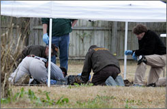 Members of the North Carolina State Bureau of Investigations and Onslow County Sheriff's Department examine a site in the backyard of Marine Cpl. Cesar Armando Laurean in Jacksonville, N.C.