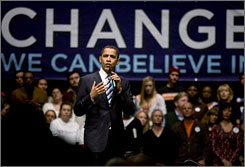 Presidential candidate Sen. Barack Obama, D-Ill., speaks at a rally in Reno, Monday, five days before the state's caucuses. His campaign slogan has been one of change.