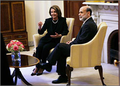House Speaker Nancy Pelosi, D-Calif., and Federal Reserve Chairman Ben Bernanke met Monday on Capital Hill to discuss ways to jumpstart the economy.