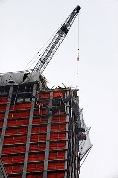 The hotel-condominium complex under construction in New York City where a worker fell and died on Monday. Donald Trump owns the complex.