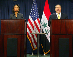 Rice and Iraq's Foreign Affairs Minister Hoshayer Zebari conduct a joint press conference on Tuesday. 