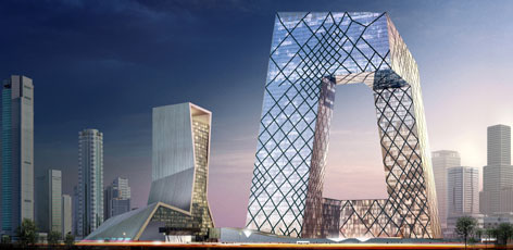 An artist concept of the China Central Television headquarters building in Beijing. The building will consist of two angled towers connected at the top to form a continuous loop of horizontal and vertical sections, when completed in 2008, in time for the Beijing Olympic Games.