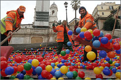 Workers remove plastic balls from Rome's Spanish Steps.