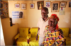 Said Obama, left, Barack Obama's uncle, and Sarah Obama, the Democratic senator's step-grandmother, at their home in western Kenya.