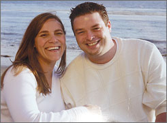 Mark Backlund, right, of Fridley, Minn., with his sister, Melanie Backlund. The 29-year-old man died Tuesday after state troopers stunned him with a Taser.