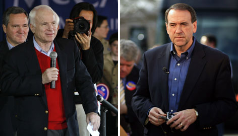 Sen. John McCain, left, edged former Arkansas governor Mike Huckabee, right, in the South Carolina GOP vote Saturday.