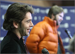 Actor Eduardo Noriega and Brad Anderson, right, are interviewed at the premiere of Transsiberian held at the Eccles Theatre during the 2008 Sundance Film Festival on Friday.