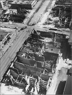 An aerial view from April 7, 1968, showing the destruction from rioting on West Madison Street in Chicago.