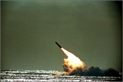 Trident II, D-5 missiles can be launched from submerged submarines.