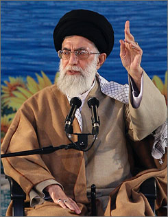 Ayatollah Ali Khamenei delivering a speech in Yazd, Iran, on Jan. 3. The ayatollah has publicly rebuked President Mahmoud Ahmadinejad.