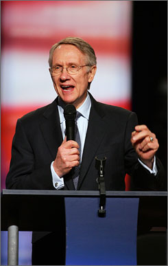 Senate Majority Leader Harry Reid, D-Nev., speaking on Jan. 15 in Las Vegas before the start of a Democratic presidential debate.