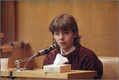 William Flynn, then 17, testifies in March 1991 in Superior Court in Exeter, N.H., that he had an affair with Pamela Smart, his high school advisor, and killed her husband, Gregory Smart.
