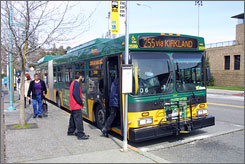 Hybrid bus in Seattle in April 2007. While hybrids accounted for just 2%-3% of buses in American Public Transportation Association's 2007 survey of its mostly North American members, about 22% of buses on order at that point were hybrids.