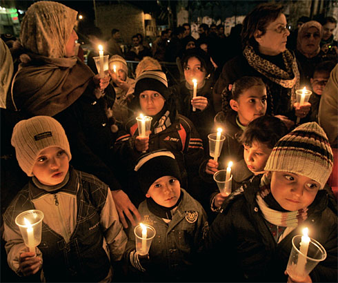 Gaza Citizens Lighting Candels