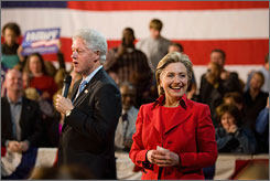 Former President Bill Clinton at a town hall meeting with his wife, Sen. Hillary Clinton, D-N.Y., Democratic presidential candidate, Saturday in Florrisant, Mo.