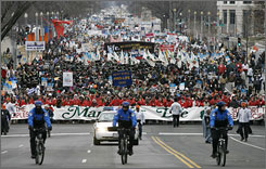 "Tens of thousands join the ""March for Life"" in Washington, D.C. on Tuesday."