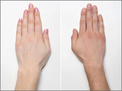 A woman's hands typically have an index finger and ring finger that are similar in length (left), while a man's hands tend to have a longer ring finger than index finger.