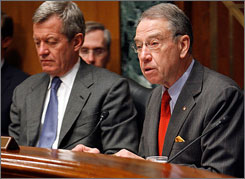 Senate Finance Committee Chairman Max Baucus of Montana, left, and ranking member Sen. Charles Grassley of Iowa, right, have called on 136 U.S. colleges to provide more financial details relating to endowments, tuition and financial aid.