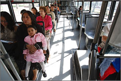 Passengers aboard one of Mexico City's new women-only buses.