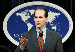 State Department spokesman Tom Casey at a press conference in Washington in December 2007. Casey said Thursday that a long-term pact with Iraq on the presence of U.S. forces would not dictate the number of troops or operations.