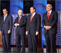 No front-runner yet:From left, Mitt Romney, John McCain, Mike Huckabee and Rudy Giuliani. Each has a shot at the Republican nomination  only because none of them is fully acceptable to all the GOP's major factions.