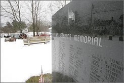 The veteran's memorial in Lee, Maine, the hometown of Sgt. Blair Emery and Sgt. Joel House, soldiers who were killed while serving in Iraq.