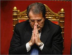 Italian Premier Romano Prodi on Thursday, just before losing a Senate confidence vote. The loss prompted Prodi to resign.