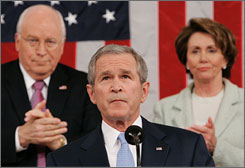 President Bush, flanked by Vice President Dick Cheney and House Speaker Nancy Pelosi, D-Calif., delivers his annual State of the Union speech at the U.S. Capitol on Jan. 23, 2007. Bush is slated to make this year's speech Monday night.