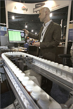 At an RFID convention last year in Lake Buena Vista, Fla., Paul Dietrich, of Impinj, Inc.,  demonstrated a system for tracking and providing information about prescription drugs and other products.