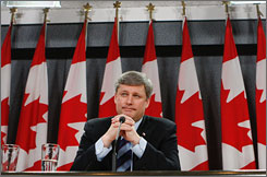 Canadian Prime Minister Stephen Harper at a news conference on Monday in Ottowa, discussing his country's future role in Afghanistan.