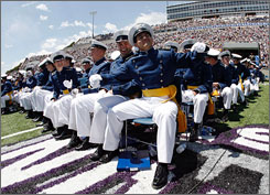 The 49th graduating class at the Air Force Academy in Air Force Academy, Colo., in May 2007. The Air Force is revamping training to enable its members to defend cyberspace.