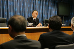 United Nations Secretary-General Ban Ki-moon speaks with reporters at headquarters in New York in early January. Ban estimates in a report that global warming could cost $20 trillion over two decades.
