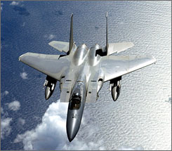 An F-15 Eagle flies over the Pacific during Valiant Shield Aug. 2007. The entire F-15 fleet was grounded after a model broke in half during training. An investigation found that 150 of the aircrafts had flawed beams.