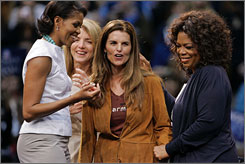 California first lady Maria Shriver, second from right, with, left to right, Michelle Obama, wife of Democratic presidential hopeful Sen. Barack Obama of Illinois, Caroline Kennedy and Oprah Winfrey at a campaign rally on Sunday in Los Angeles.