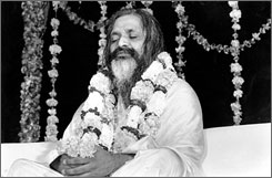  Maharishi Mahesh Yogi meditating at his headquarters in New Delhi, India, in December 1967. Maharishi, the guru to the Beatles who introduced the West to transcendental meditation, has died at his home in the Dutch town of Vlodrop, a spokesman said Tuesday. 