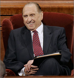 An October 2007 photo of Thomas S. Monson. He is the youngest man to hold the presidency since Spencer W. Kimball, who was 78 when named president in 1973.