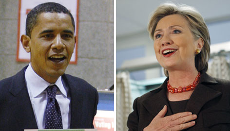Barack Obama, left, and Hillary Rodham Clinton, right, are locked in a tight battle for delegates. Twenty-two Democratic nominating contests tonight may help clarify the state of their race.