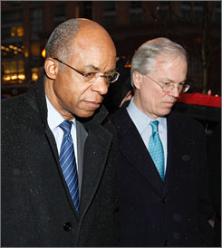 Rep. William Jefferson, D-La., left, leaves federal court in Alexandria, Va., with his lawyer, Robert Trout on Jan. 17.