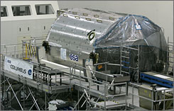 The space lab Columbus is tested at the Kennedy Space Center in Cape Canaveral in October.