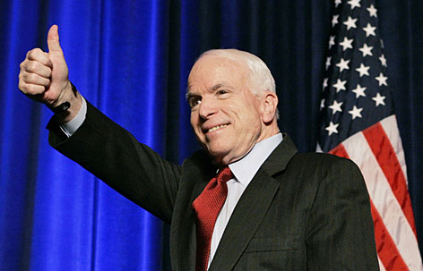 Republican front-runner Sen. John McCain gives a thumbs up after speaking at the American Conservative Union's 2008 Conservative Political Action Conference at the Omni Shoreham Hotel in Washington on Thursday. Since Mitt Romney has dropped out of the race, McCain is now focusing on appealing to the conservative base.
