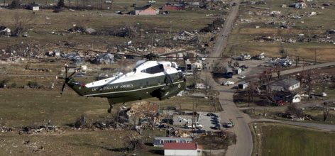 Marine One, with President Bush aboard, takes an aerial tour of the tornado damage near Lafayette, Tenn., Friday. The president visited the area communities hit by tornadoes that have killed nearly 60 people.
