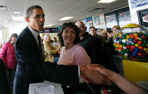 Democratic presidential hopeful Sen. Barack Obama of Illinois greets workers at Nicky's Cruisin' Diner during a campaign visit in Bangor, Maine, on Saturday. Obama won the Maine Democratic caucus on Sunday.