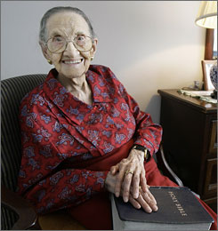 "Rosa McGee, 104, sits inside her daughter's Chicago apartment. ""My living habits are beautiful,"" McGee said in an interview.  ""I don't take any medicines. I don't smoke and I don't drink. Never did anything like that."""