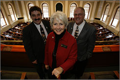 After backing a bill to give adopted adults access to their birth records, Maine Sen. Paula Benoit, an adoptee, learned she was an aunt of Sen. Bruce Bryant, left, and Rep. Mark Bryant.