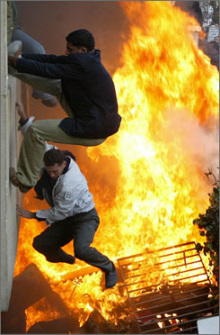 Angry demonstrators gutted the Danish embassy with a powerful blaze in Damascus, Syria in Feb. 2006 to protest the publication of cartoons depicting the Muslim prophet Mohammed in a Danish newspaper. The cartoons sparked worlwide fury among Muslim populations.