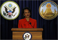 Secretary of State Condoleezza Rice speaks during the commemoration of the 225th anniversary of the Great Seal of the United States at the State Department in Washington on Tuesday.