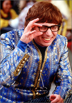 Mike Myers played Austin Powers, a British spy with not-so-pearly white teeth, in three films.